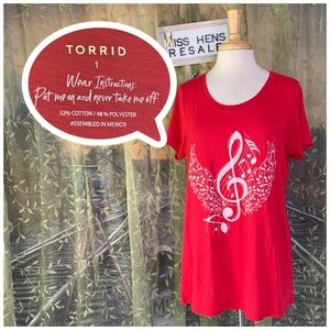 EUC TORRID RED MUSICAL NOTE WING SS TEE SHIRT